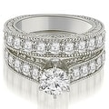 2.65 cttw. 14K White Gold Antique Cathedral Round Cut Diamond Engagement Set,HI,SI1-2 - Thumbnail 0