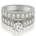 2.90 cttw. 14K White Gold Antique Cathedral Round Cut Diamond Engagement Set - Thumbnail 0