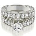 3.15 cttw. 14K White Gold Antique Cathedral Round Cut Diamond Engagement Set - Thumbnail 0