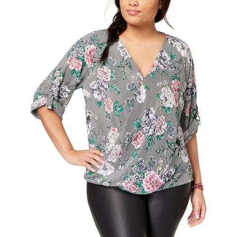 BCX Womens Plus Blouse Floral Print Blouson