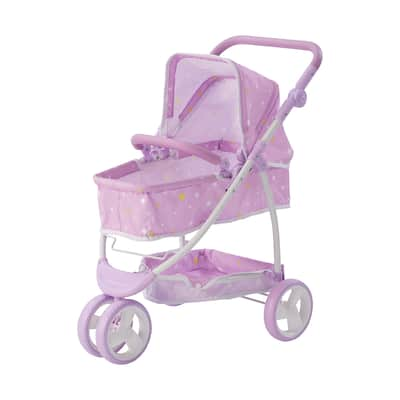Olivia's Little World - Polka Dots Princess 2-in-1 Baby Doll Stroller - Pink/Gray