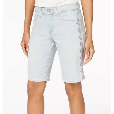 NYDJ Light Blue Women's Size 4 Embroidered Denim Bermuda Shorts