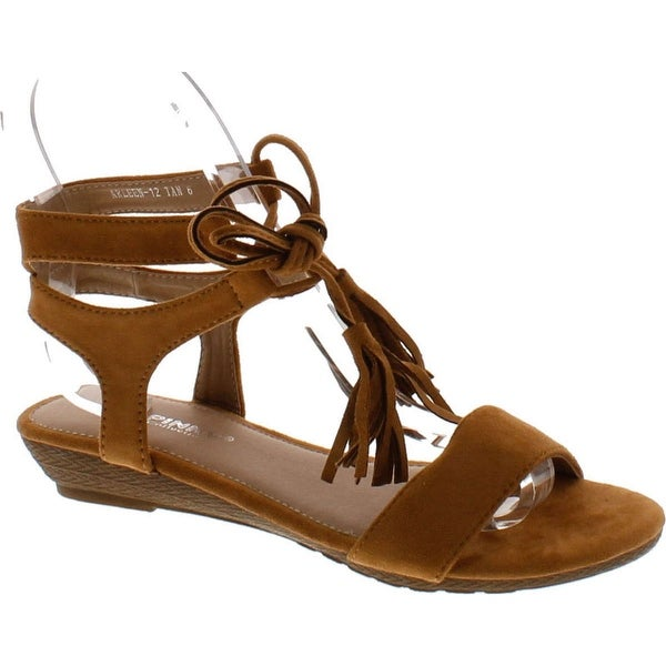 Via Pinky Arleen-12 Women's Front Lace Up Fringe Ankle Strap Low Heel Sandals