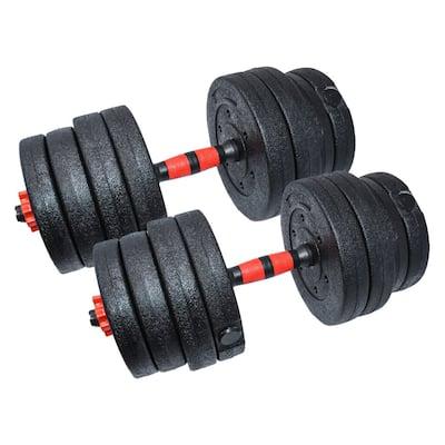 ALEKO 66 lbs (30 kg) Adjustable Dumbbell Set for Home Gym Black