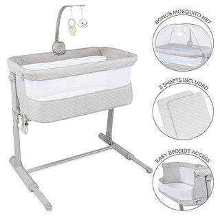 Lil' Jumbl Baby Bedside Bassinet | Standalone Crib & Co Sleeper Combo for Infants 0-6 Months - Standard