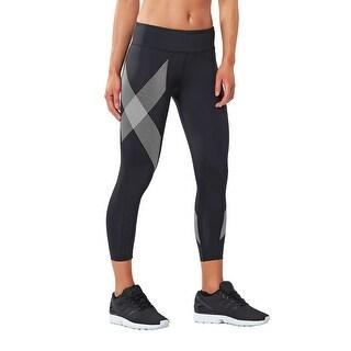 2XU Women's 7/8 Mid-Rise Compression Tights - Black/Striped White