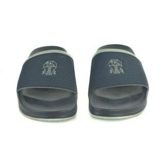 Brunello Cucinelli Mens Navy Ribbed Rubber Logo Slide Sandals
