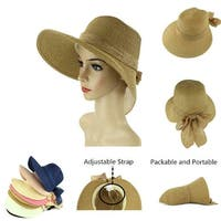 Women's Lightweight Foldable/Packable Beach Sun Hat w/Decorative Bow