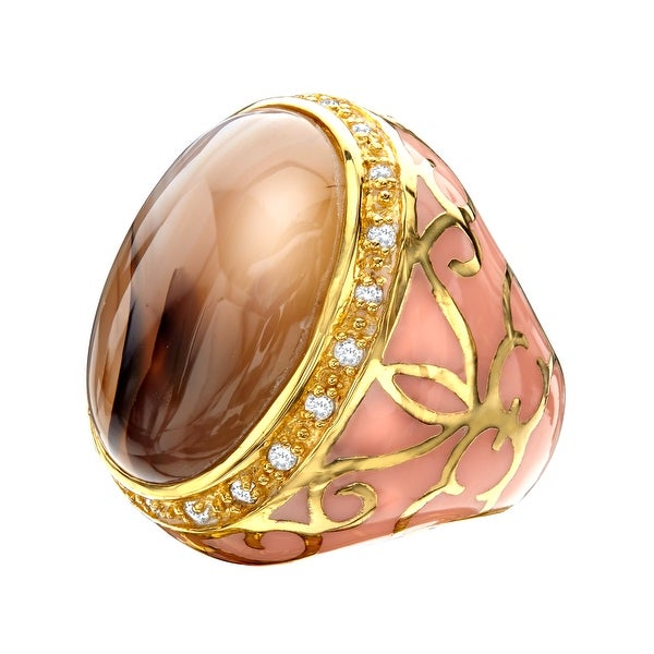 Agate Noble Ring in Peach with Cubic Zirconia in 14K Gold-Plated Sterling Silver - Brown