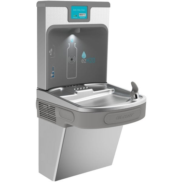 Elkay LZS8WSP EZH2O Wall Mount Drinking Fountain with Bottle Filler Station  and Digital Display