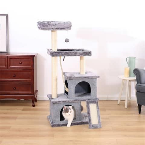Cat Tree Activity center with spacious perches & 2 Plush Condos,Gray
