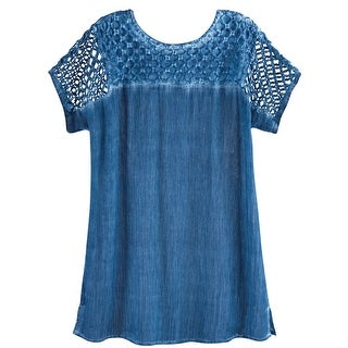 Women's Lattice Cutwork Top - Rhinestone Embellished Crinkled Fabric Shirt