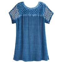 Women's Lattice Cutwork Top - Rhinestone Embellished Crinkled Fabric Shirt