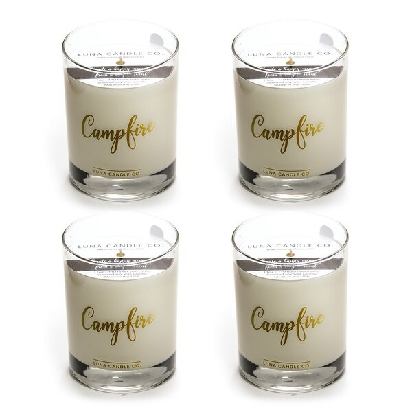 Campfire Scented Jar Candle, Hints of Smoky Pine and Cedar (4 Pack)