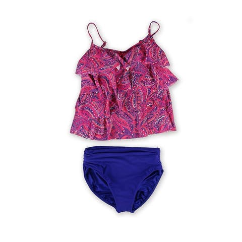 Miraclesuit Womens Paisley Ruched Brief 2 Piece Tankini