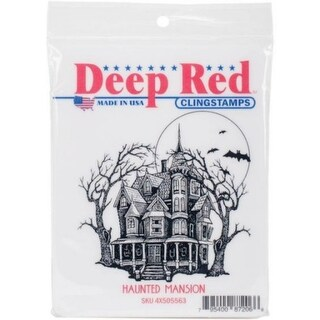 Deep Red Stamps Haunted Mansion Rubber Cling Stamp - 3 x 3.1