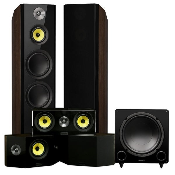 Fluance Signature Series Surround Sound Home Theater 5.1 Channel System with Bipolar Speakers - Walnut (HF51WB)