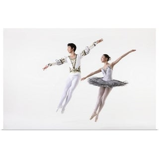 """Dancers in mid-air leap"" Poster Print"