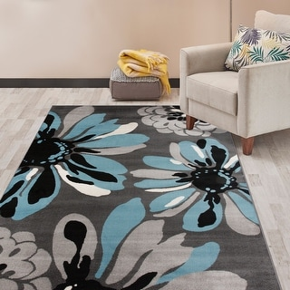 Link to Contemporary Modern Flowers Area Rug Similar Items in Transitional Rugs