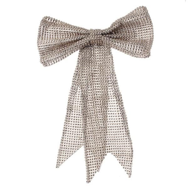 """13"""" Glamour Time Champagne Rhinestone Mesh Bow Commercial Size Christmas Ornament - silver"""
