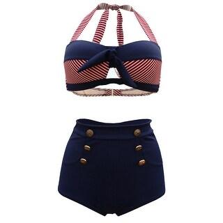 QZUnique Women's Retro Print Halter Bottons High Waist Bikini Push Up Swimsuit