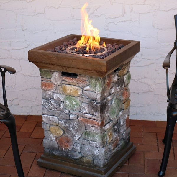 Sunnydaze Outdoor Backyard Rock Column Design Propane Gas Fire Pit - 30-Inch