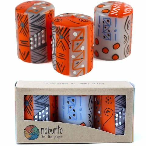 """Hand Painted Votive Candles in """"Kukomo"""" Design (box of three)"""
