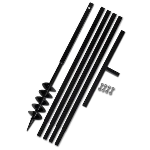 """vidaXL Ground Drill Handle 3.94"""" with Extension Tube 16'4"""" Steel"""