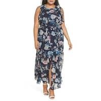Vince Camuto Womens Plus Ruffle Chiffon Maxi Dress