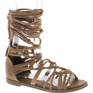 Breckelles Rita-72 Women Suede Knotted Peep Toe Lace Up Wrap Gladiator Flat Sandal