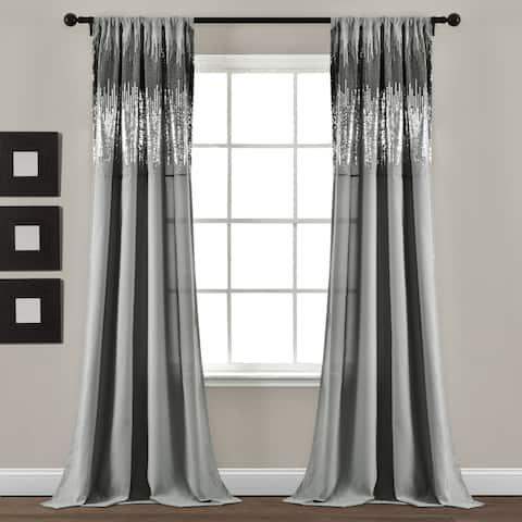"Lush Decor Shimmer Sequins Window Curtain Panel Pair - 84"" x 42"""