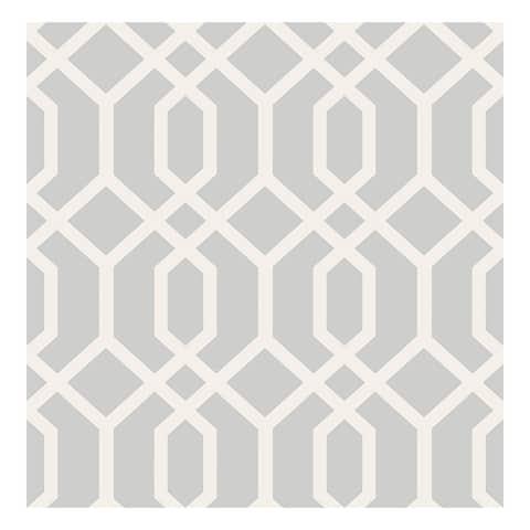Trellis Grey Montauk Wallpaper - 20.5 x 396 x 0.025