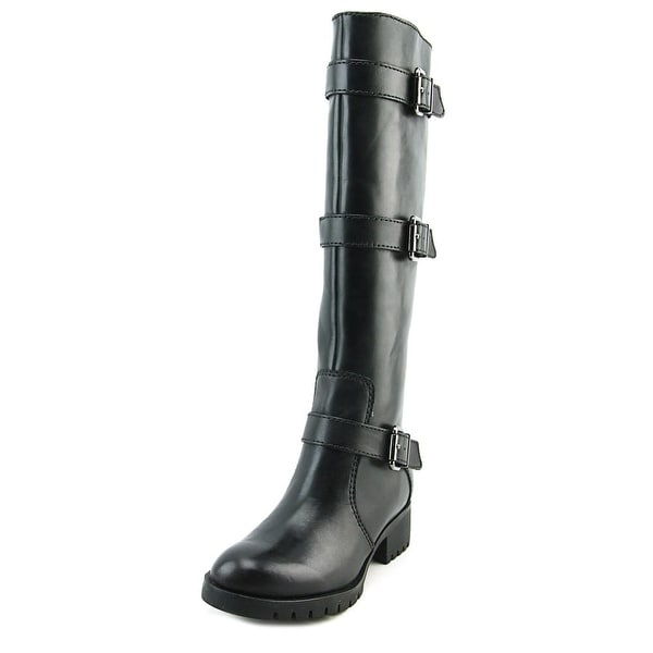 Karl Lagerfeld Baylen Women Round Toe Leather Black Knee High Boot