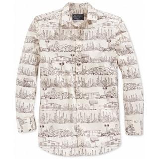 American Rag NEW Beige Mens Size XL Desert-Print Button Down Shirt