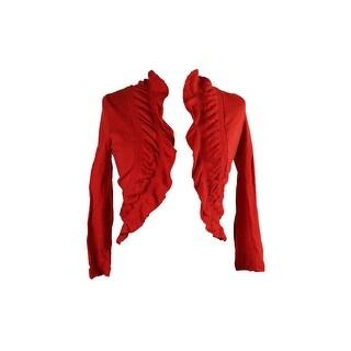 Inc International Concepts Red Short-Sleeve Ruffled Bolero Cardigan S