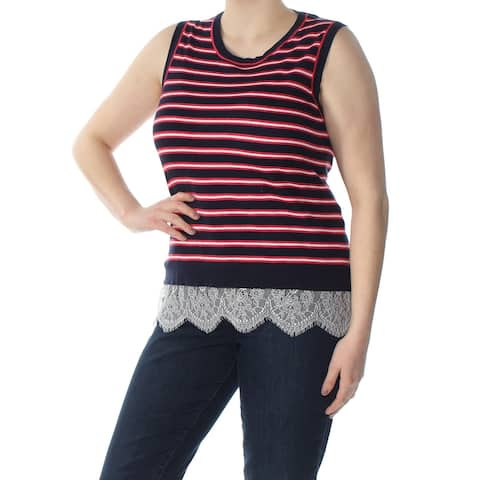 TOMMY HILFIGER Womens Navy Lace Trim Striped Sleeveless Scoop Neck Top Plus Size: 1X