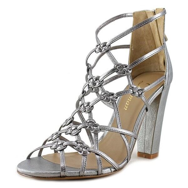 Delman Scandl Women Open-Toe Synthetic Silver Heels