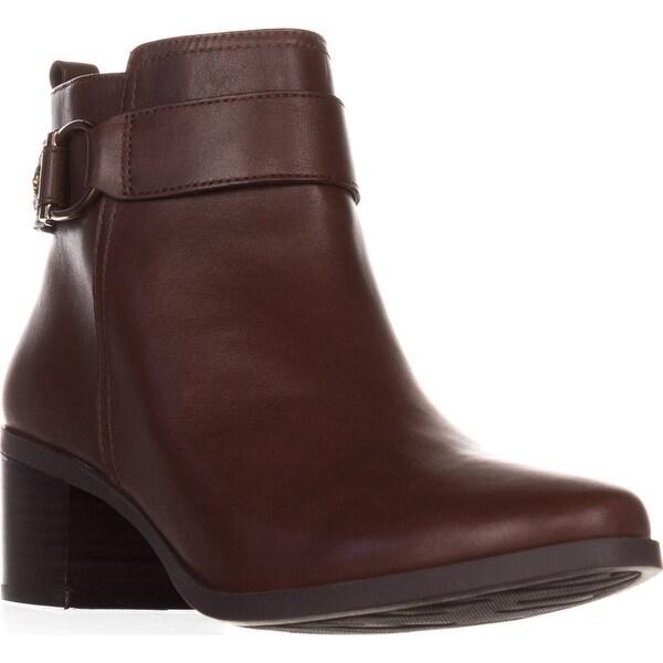 AK Anne Klein Jeannie Comfort Ankle Boots, Dark Cognac