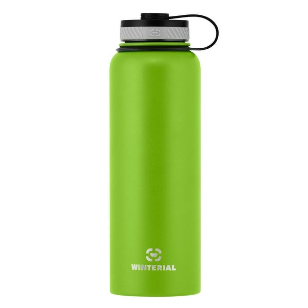 Winterial Insulated Water Bottle, 40oz, Double Walled HOT & COLD, Vacuum Sealed, Green, Thermos
