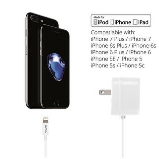 Skiva PowerFlow 12-Watts 2.4-Amps AC Wall Charger with integrated 8-pin Lightning Cable (3.2ft) for iPhone 7 plus 6s SE, iPad