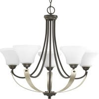 """Progress Lighting P400012 Noma 5 Light 28-1/2"""" Wide Chandelier with Etched Glass Shades"""