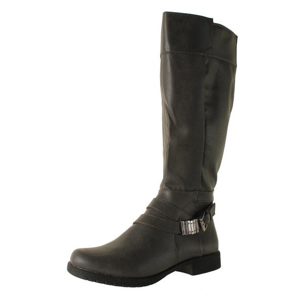 LifeStride Womens Maximize Faux Leather Wide Calf Riding Boots