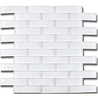 """TileGen. Arched Bridge 3D 1"""" x 4"""" Glass Mosaic Tile in Pure White Wall Tile (6 sheets/5.76sqft.)"""