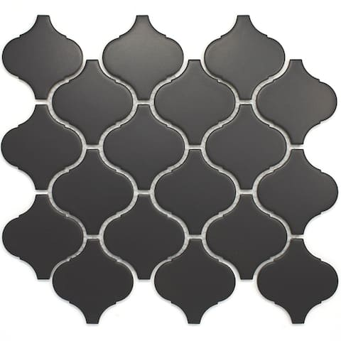 "TileGen. Lantern 3"" x 3"" Porcelain Mosaic Tile in Black Floor and Wall Tile (11 sheets/8.03sqft.)"