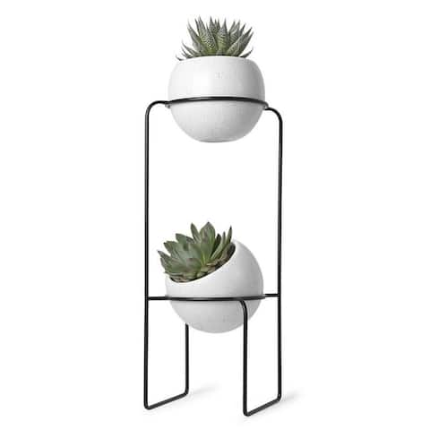 """Umbra 1008047 Nesta 9"""" Wide Ceramic Free Standing Two Pot Planter with Metal Frame by Sung Wook Park"""
