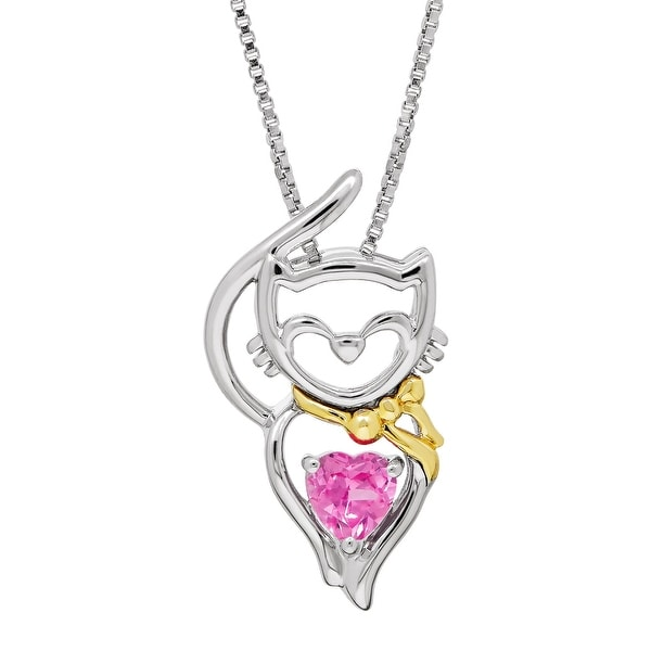 5/8 ct Created Pink Sapphire Cat Heart Pendant in Sterling Silver & 14K Gold