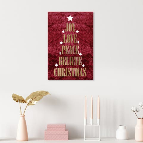Oliver Gal 'Golden Holiday Tree' Red Wall Art Canvas Print