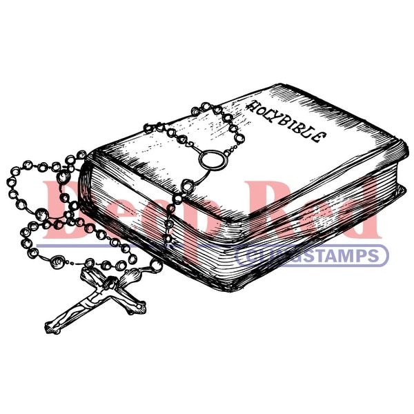 "Deep Red Cling Stamp 3.25""X1.75""-Bible & Rosary"