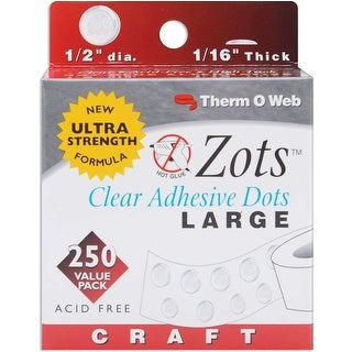 """Zots Clear Adhesive Dots-Craft 1/2""""X1/16"""" Thick 250/Pkg"""