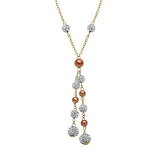 Crystaluxe Lariat Necklace with Swarovski Crystals in 18K Yellow & Pink Gold-Plated Sterling Silver - White
